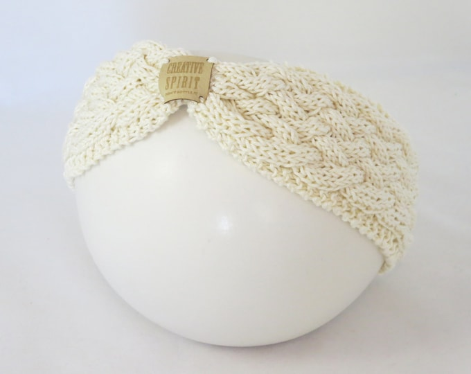 Featured listing image: Summer Cable Knit Headband, hand knitted, cream or yellow