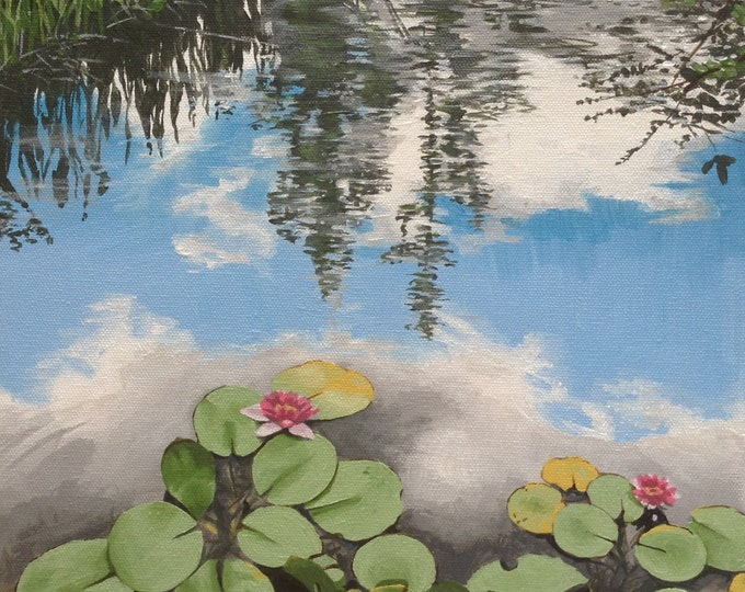 Featured listing image: Lily Pond under a Blue Sky, acrylic painting on canvas
