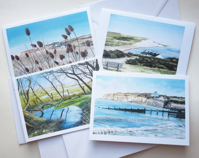 Featured listing image: Cuckmere Haven Blank Cards, Set of 4