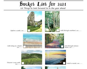 Bucket List for 2021 A3 Poster