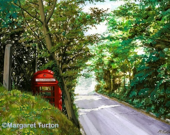 Old Red Telephone Box Print, mounted and signed by artist