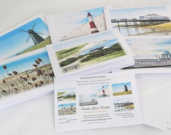 Notelets, Sussex Coast Set, pack of 6