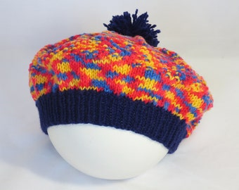 Beret in Primary Colours, hand knitted