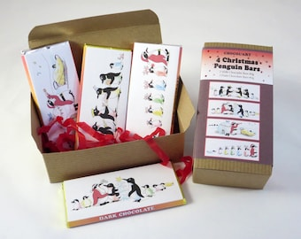 Chocolate Box of 4x40g Bars, Christmas Penguin designs