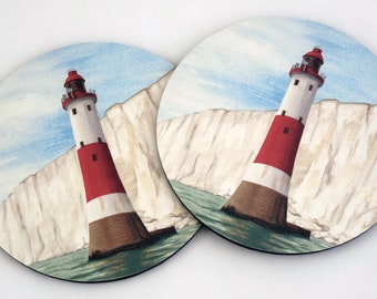 Pack of 2 Foam Coasters, Lighthouse or Coastguard Cottages