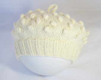 Artist's Bobble Beret, Hand Knitted, Maroon or Cream