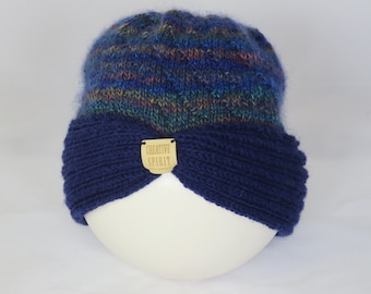 Hand Knitted Turban Style Hat, Maroon or Blue