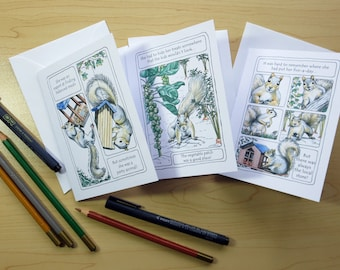 Slim-line Squirrel Birthday Cards, Set 1 choose from 3 designs