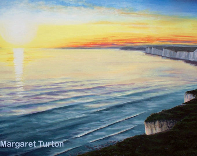 Featured listing image: Sunset over Seven Sisters, acrylic painting on canvas