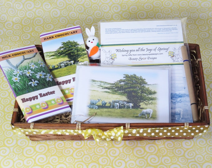 Featured listing image: Springtime Gift Basket, chocolate and stationery