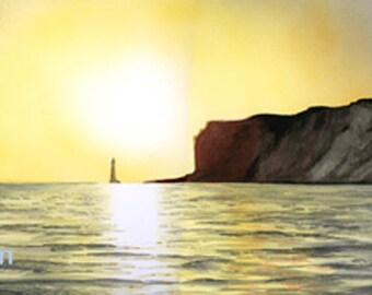 Beachy Head at Sunset, mounted and signed