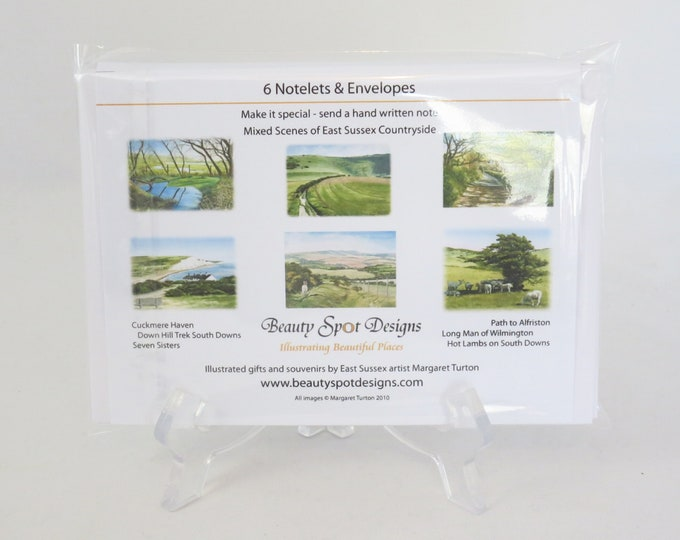 Featured listing image: Notelets, Sussex Countryside Set, pack of 6