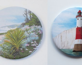 Lighthouse and Seaside Garden Pocket Mirrors, Eastbourne