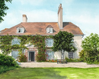 Charleston, Home of Bloomsbury Group in Sussex, watercolour painting