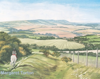 Downhill Trek, South Downs Print, mounted and signed