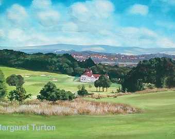 Willingdon Golf Course, Eastbourne, mounted and signed by artist