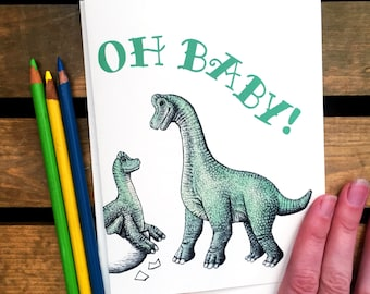 Congratulations Card Dinosaur - New Baby! - Baby Shower Card Dinosaur - Baby Dinosaur - Oh Baby!