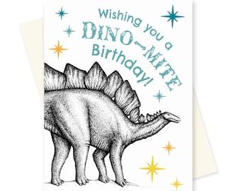 Dinosaur Birthday Card. Stegosaurus Happy Birthday. Funny Boyfriend Birthday Card. Cute Cards for Kids. Science Card. Geeky Greeting Card.
