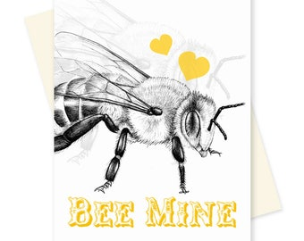 Bee Valentine. Science Valentines Day Card. Boyfriend, Husband Anniversary. For Him. For Her. Bee Mine. Romantic Love Pun Card.