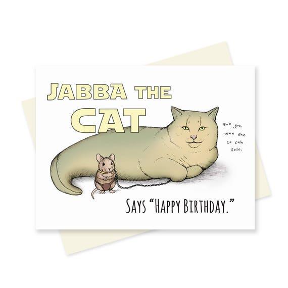 Star Wars Geburtstag Card Lustige Katze Alles Gute Zum Etsy