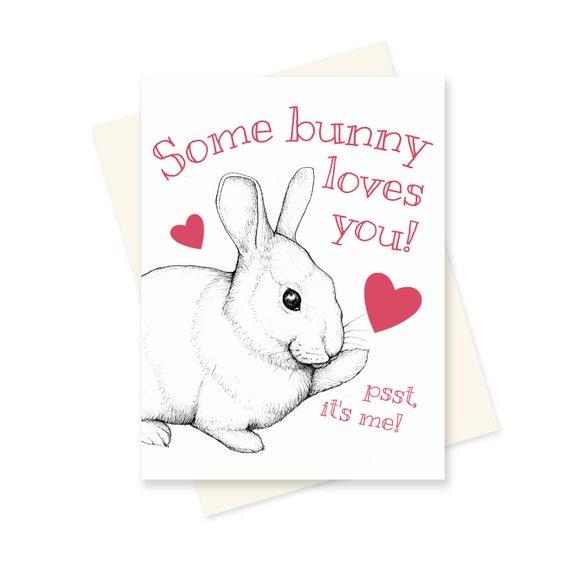 Some Bunny Loves You Bunny Valentine Rabbit Valentines Day Etsy