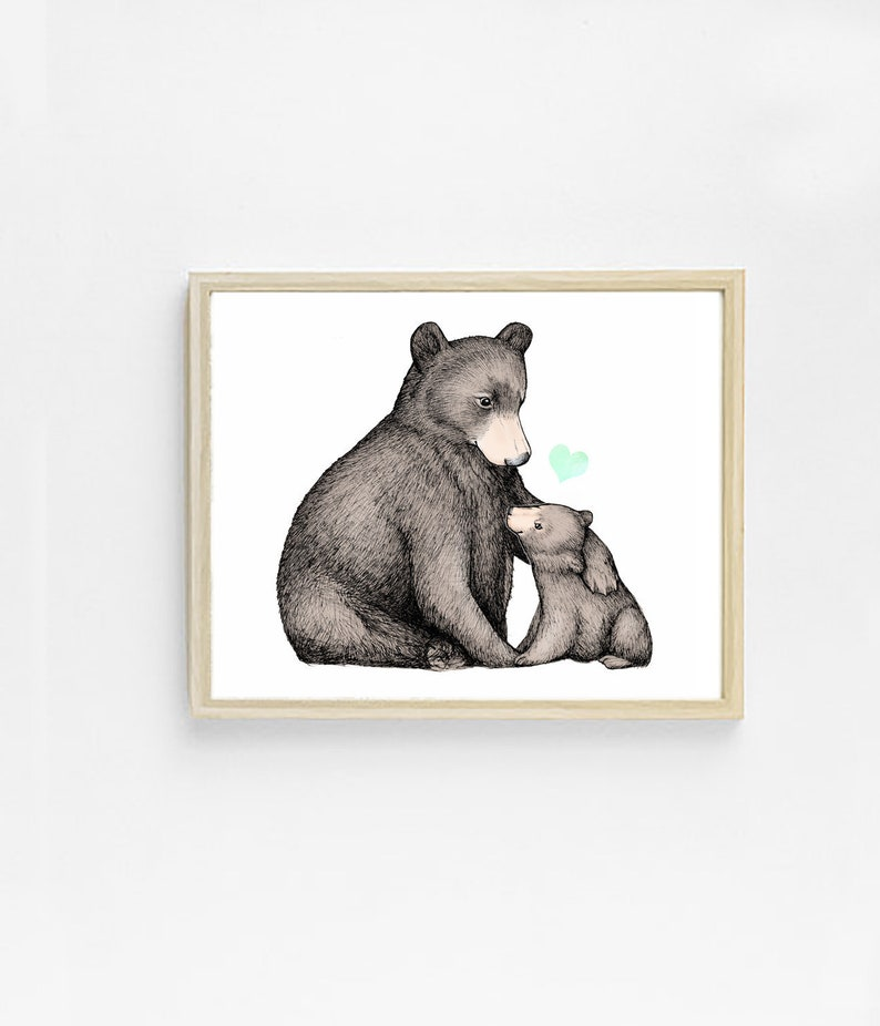 Mama Bear Art Print Woodland Animal Artwork Cute Childrens Decor 8x10 Animal Nursery Print Bear Gift Baby Room Decor Mother And Child