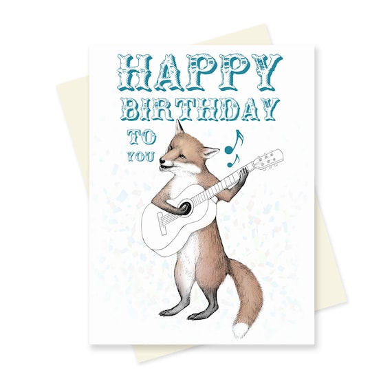 Fox Birthday Card Bluegrass Happy Musical Guitar Cute Boyfriend Funny Animal Blank Inside