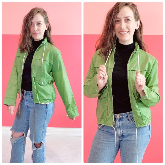 Medium 1960s Lime Green Windbreaker
