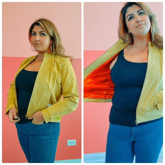 Large Lime Green Suede Jacket