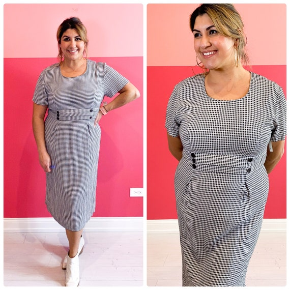 XL 90s checkered gingham double breasted dress