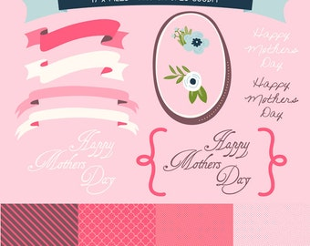 17 x Mothers Day Clipart files including bright pink digital paper and borders, with Instant Download. GP0001