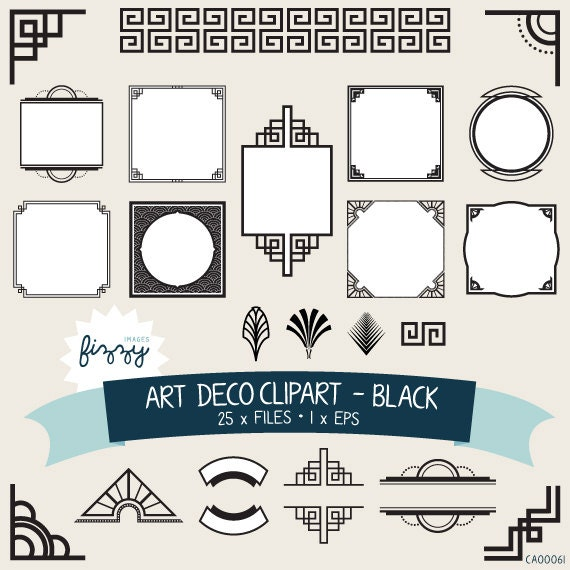 CA0061 25 x Art Deco 1920s 1930s Black and White Clipart EPS Digital files Vector EPS