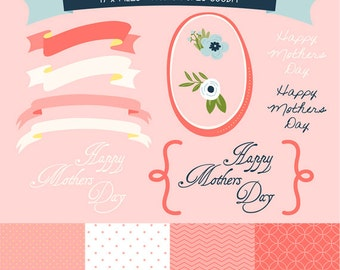 17 x Mothers Day Clipart files including pink digital paper and borders, with Instant Download. GP0003