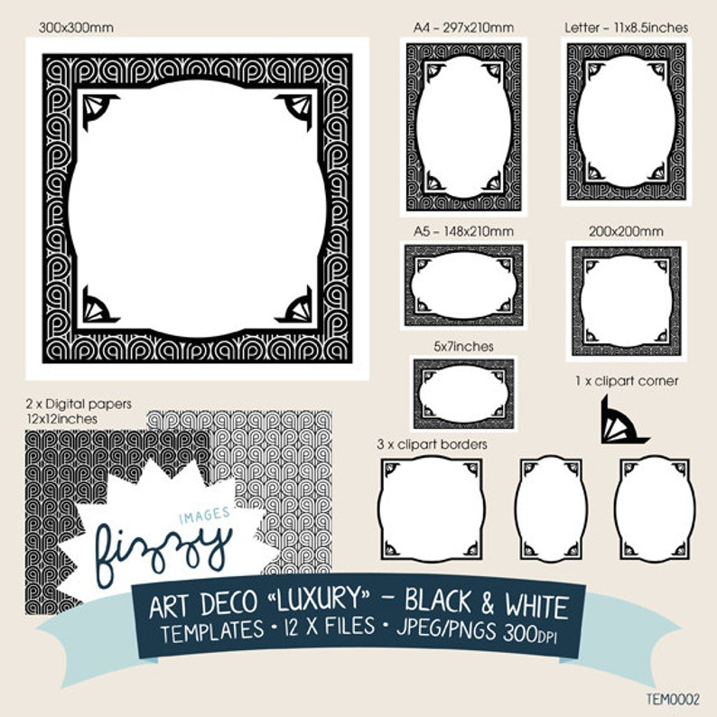 TEM0002 Black and White Digital files with Instant Download 12 x Art Deco Clipart Backgrounds Invite Template
