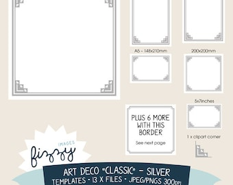 JPEG/PNG: 13 x Art Deco Templates Invite Clipart  - Silver - Digital files with Instant Download. TEM0009