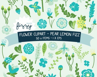 EPS: 50 x Flower Clipart in Pear Lemon Fizz colourset - Digital files with Instant Download. CA0022