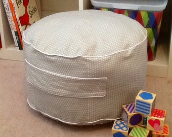 Pouf Ottoman/gray with white dots pouf with handle