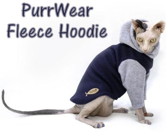 PurrWear Sphynx Cat Clothing - Hoodie, Long Sleeve Style for all cats.
