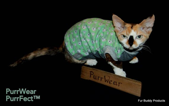 Cornish Rex and all short haired cats. Cotton Flannel and  Cotton Jersey shirt for Sphynx Sphynx Cat Clothing Peterbalds