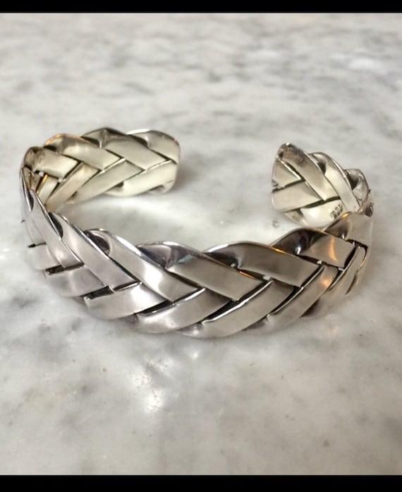Sterling handmade braided cuff bracelet