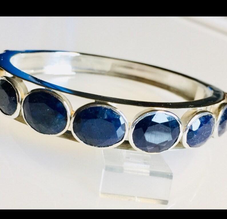 Vintage Handmade Sterling /& Sapphire hinged bangle bracelet
