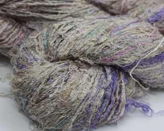 NEW***Handspun Recycled Mulberry Silk - Lavender & Taupe