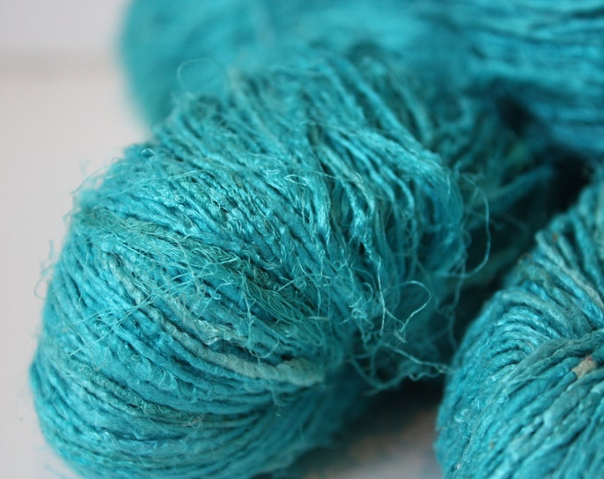 Handspun Recycled Mulberry Silk - Turquoise
