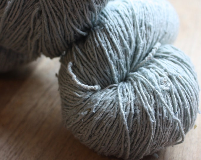 OAK Batch** Hand Dyed Slubby Eri Silk** Duck Egg Blue