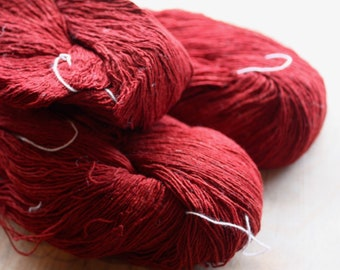 7/1 Handmade Mulberry Noil Silk  - Natural Plant Dyed - Dark Red - Madder