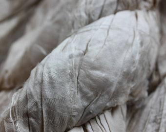 Recycled Sari Silk Ribbon - Natural Golden Cream