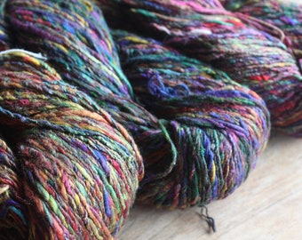 NEW****Handspun Mulberry Silk with Recycled Sari Fibre plyed Yarn