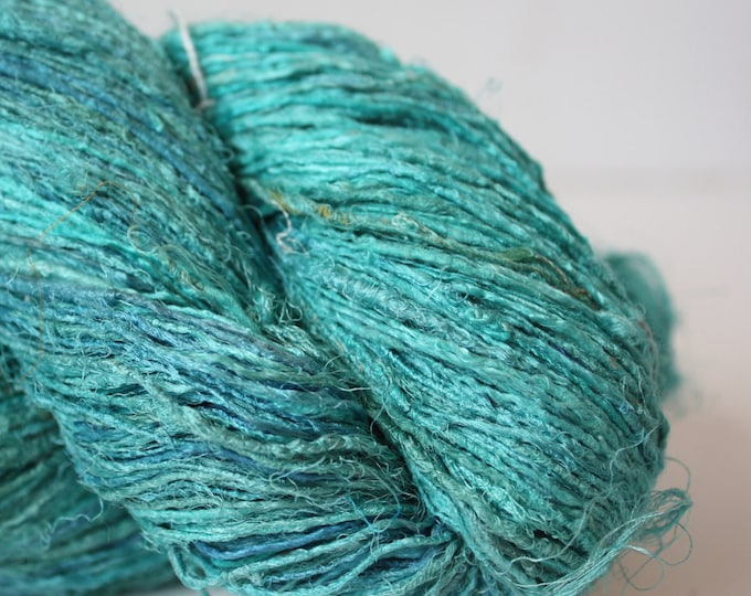 Handspun Recycled Mulberry Silk - Aqua