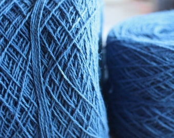 100% Hemp Yarn - Natural Dye - Col: 012A Indigo - Mid Blue