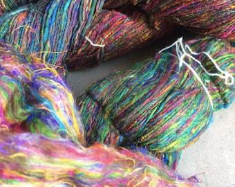 Handspun Mulberry silk and Recycled Sari Fibre Single Yarn